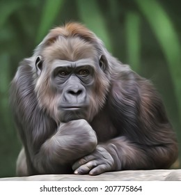 Portrait of gorilla female on green forest background. Human like expression of the great ape, the biggest primate of the world. Amazing illustration in oil painting style. Beauty of the wildlife.