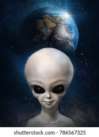 Portrait of a gray alien on the background of the cosmos and earth planet. 3D illustration