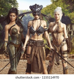 Portrait of a group of fantasy females embarking on an epic adventure.The warrior, elf archer,and scout assassin, 3d rendering