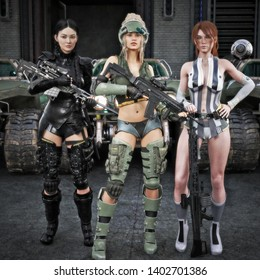 Portrait of a group of special operations females posing in front of all terrain vehicles . Science fiction 3d rendering