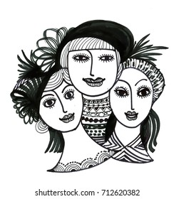 flapper girls seamless pattern background face stock vector royalty 1920s Flappers portrait of a hand drawn women in hats on a white background