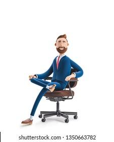 Portrait of a handsome cartoon character. 3d illustration