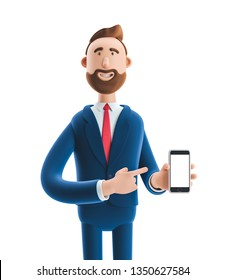 Portrait of a handsome cartoon character with mobile phone. 3d illustration