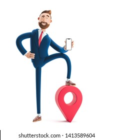 Portrait of a handsome cartoon character with phone and pin. GPS concept. 3d illustration