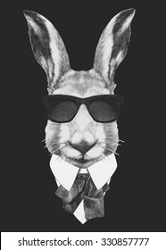 Portrait of Hare in suit. Hand drawn illustration.