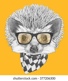 4f314c1183d7 Portrait Sloth Glasses Handdrawn Illustration Vector Stock Vector ...