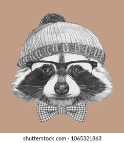 Portrait Of Hipster Raccoon With Sunglasses Hat And Bow Tie Hand