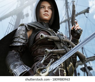 Portrait of a hooded female pirate mercenary standing on the deck of her ship heavily armed and ready for battle. 3d rendering