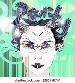 Portrait illustration for party background