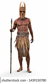 Portrait of an intimidating bare footed strong African tribal hunter with spear and wooden mask on an isolated white background. 3d rendering