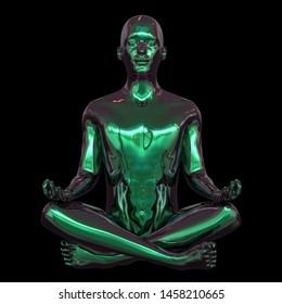 Portrait of iron human mental guru zen-like character. Man lotus pose figure stylized green polished. Peaceful nirvana yoga position symbol. 3d rendering