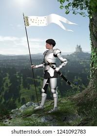 Portrait of Joan of Arc (Jeanne d'Arc) in full armor watching a French landscape, 3d render,