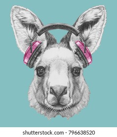 Portrait of Kangaroo with headphones,  hand-drawn illustration