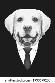 Portrait of Labrador Retriever in suit. Bodyguard. Hand-drawn illustration.
