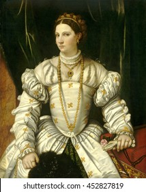 Portrait of a Lady in White, by Moretto da Brescia, 1540, Italian Renaissance painting, oil on canvas. Elaborately dressed and bejeweled women from Veneto province. Covering the table on right is a '