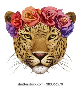 Portrait of Leopard with floral head wreath. Hand drawn illustration, digitally colored.