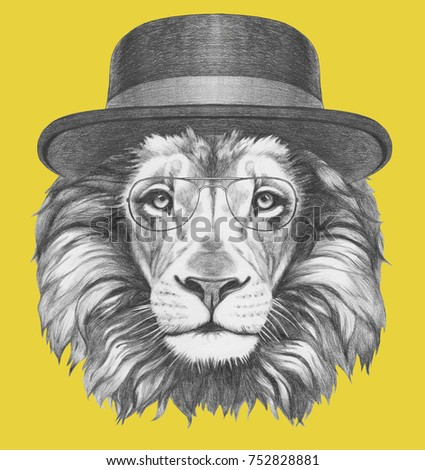 82719e4bf38a4 Portrait Lion Hat Glasses Handdrawn Illustration Stock Illustration ...