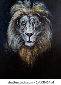 The portrait of a lion on a dark background is painted with oil paints