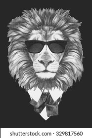 Portrait of Lion in suit. Hand drawn illustration.