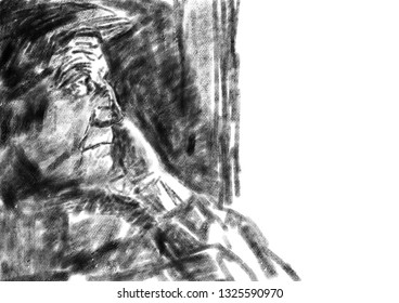 Portrait of a lonely old man. Oldster in a cap looks out the window. Black oil pastel, watercolor paper texture. Academic drawing. Black and white illustration.