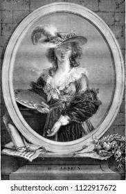 Portrait of Madame lebrun, painter, vintage engraved illustration. Magasin Pittoresque 1841.