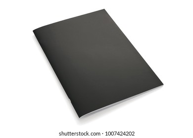 Portrait Magazines with black soft cover isolated on white. 3d Illustration for your presentation.