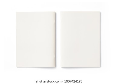 Portrait Magazines with blank front and back covers isolated on white. 3d Illustration for your presentation.