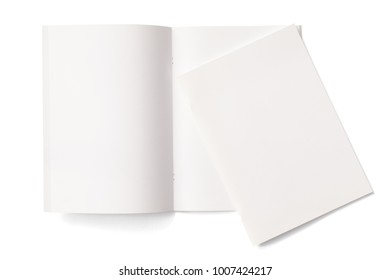Portrait Magazines with blank pages cover isolated on white. 3d Illustration for your presentation.