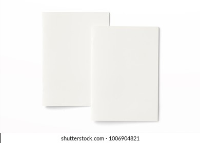 Portrait Magazines with blank soft cover isolated on white. 3d Illustration for your presentation.