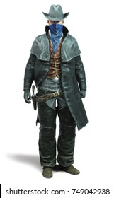 Portrait of a male cowboy Outlaw in a traditional western outfit prepared to draw his weapon. 3d rendering on an isolated white background.