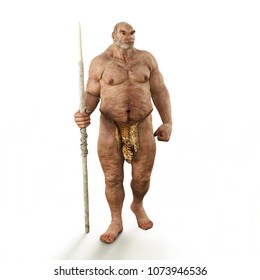 Portrait of a male neanderthal prehistoric caveman. 3d rendering