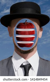 Portrait of a man with divided apple in his head