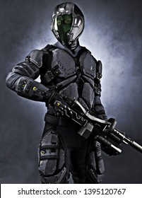 Portrait of a masked futuristic armored soldier with a studio background. 3d rendering