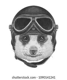 Portrait of Meerkat with vintage helmet,  hand-drawn illustration
