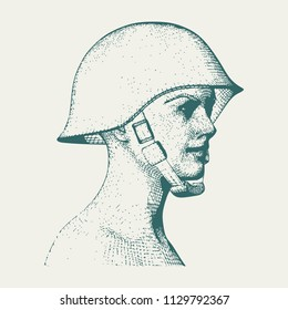 Portrait of a miltary lady. Woman wearing helmet. Vintage engraved illustration