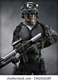 Portrait of a modern warfare soldier wearing battle armor and tactical equipment. 3d rendering