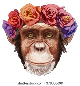 Portrait of Monkey with floral head wreath. Hand-drawn illustration, digitally colored.