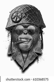 Portrait monkey with military helmet, hand drawn artwork, animal illustration