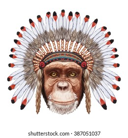 Portrait  of Monkey in war bonnet. Hand-drawn illustration, digitally colored.