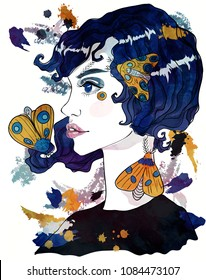 Portrait of a Moth Girl. Girl and moths. Fashion illustration