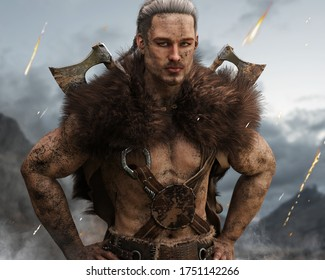 Portrait of a muddy viking Norse warrior from Scandinavia with duel bearded axes posing after a long fought battle defending his homeland with smoke and embers falling in the background. 3d rendering