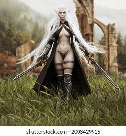 Porträt eines geheimnisvollen exotischen, dunklen Elfenkriegers mit dualen Schwertern und langfließenden weißen Haaren, die durch die Grasfelder einer alten Ruine gehen. 3D-Rendering