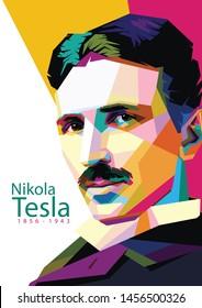 portrait of Nikola Tesla on WPAP style