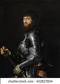 Portrait of a Nobleman in Armor, by Anonymous artist, c. 1540-60, Italian Renaissance painting, oil paint on canvas. Italian nobleman in armor, with both hands on the hilt of a his sword