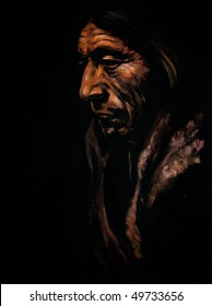 Portrait of old Indian men acrylic painted.Picture I have created myself.