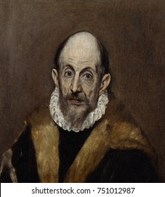 PORTRAIT OF AN OLD MAN, by El Greco, 1595_1600, Spanish Renaissance painting, oil on canvas. El Greco\x90s portraits are remarkable for their naturalism and psychological depth