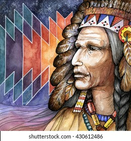 Portrait of the old shaman native american man; hand drawn watercolor illustration with traditional ornament on background