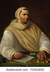 PORTRAIT OF AN OLIVETAN MONK, by Baldassare Tommaso Peruzzi, 1500-36, Italian Renaissance oil painting. An Olivetan monk, surrounded by his writing materials, letters, and a book closed with a clasp.