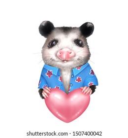 Portrait of Opossum. Cute animal illustration isolated on white