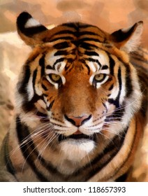 Portrait Painting of Tiger Face with Slightly Open Mouth